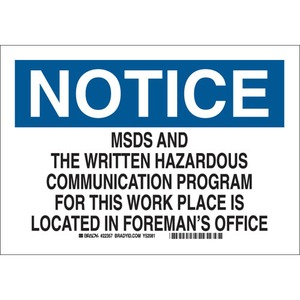 22357 CHEMICAL & HAZD MATERIALS SIGN