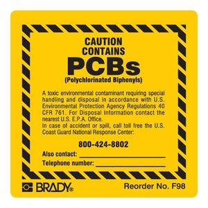 F98LS B-302 2X2 100/PK BLK/YEL PCB LBLS
